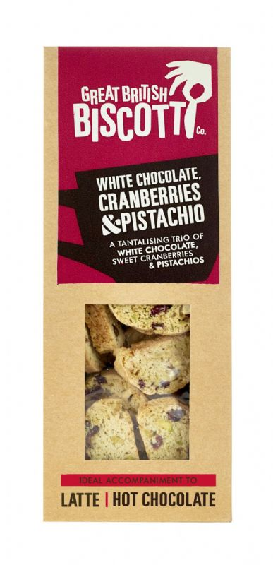 White Chocolate, Cranberry & Pistachio Sweet Biscotti 100g